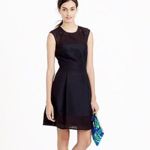 J. Crew Perforated A-line dress size 8 black
